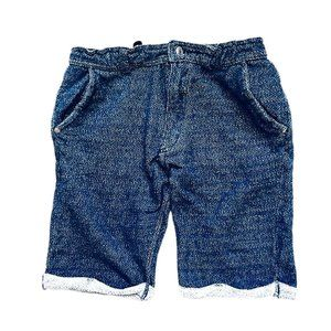 ANCHOR&RELEASE Faux Denim Cotton Roll-Up Shorts